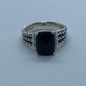 David Yurman Black Onyx Petite Wheaton Ring Size 9